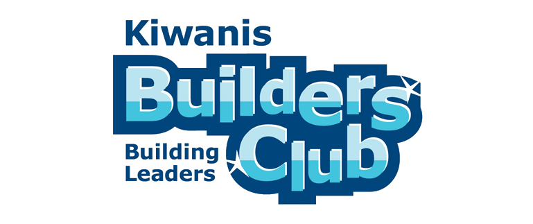 Kiwanis Builders Club logo with just text in blue and green