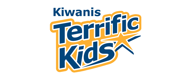 Kiwanis Terrific Kids logo with just text in blue and yellow